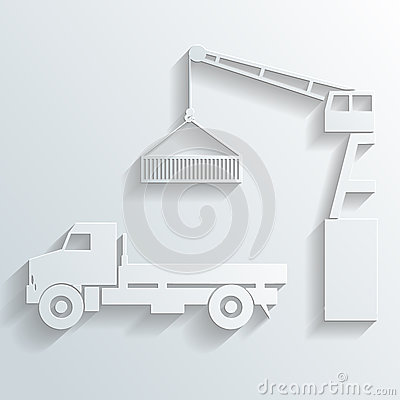 Crane loading onto truck vector