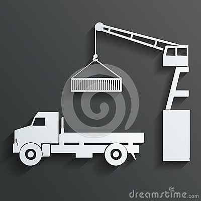 Crane loading onto truck vector