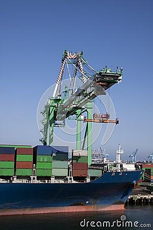 Crane loading ship