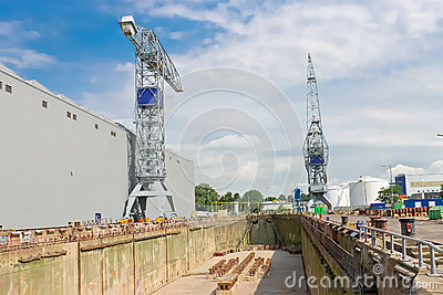 Crane near a covered dry dock