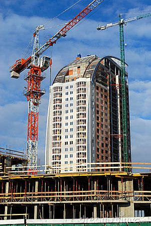 Crane and new building