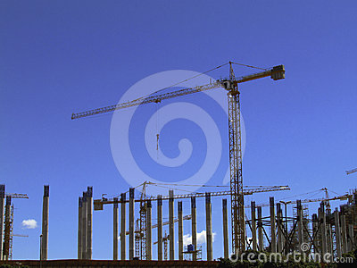 Crane operating in a construction site.