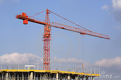 Crane over building site