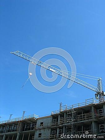 Crane over modern building