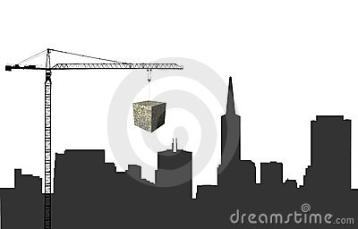 Crane and San Francisco skyline