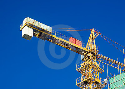 Crane and scaffolding