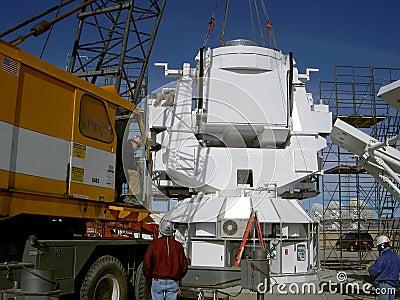 Crane sets observatory base
