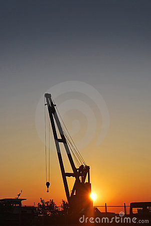 Crane on sunset