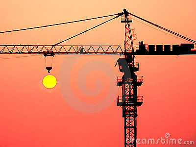 A crane in the sunset