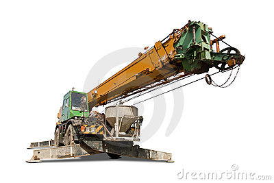 Crane truck with clipping path