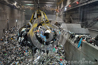 Crane In Waste To Energy Power Plant Editorial Photo