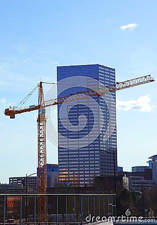 A crane at work.