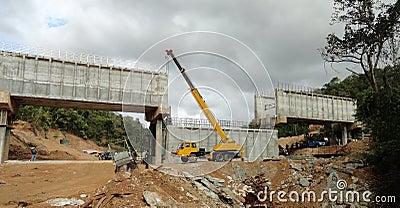 Crane working at a bridge