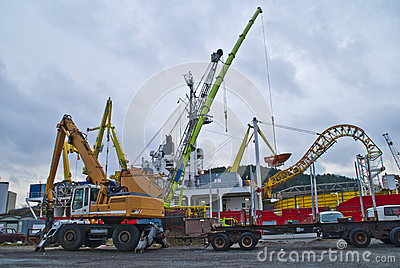 Cranes in action on the halden harbor