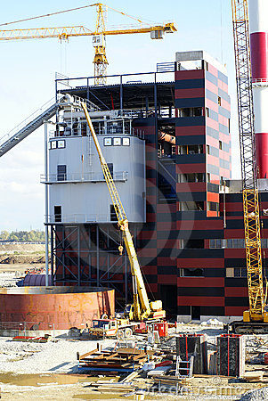Free Cranes And Chimney On Construction Site Stock Images - 5430714