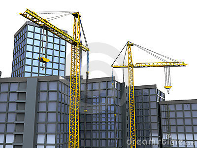 Cranes and buildings