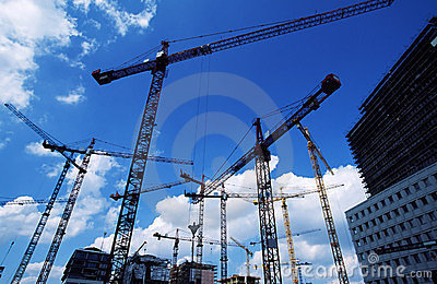 Cranes at construction site