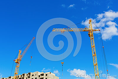 Cranes on the construction site
