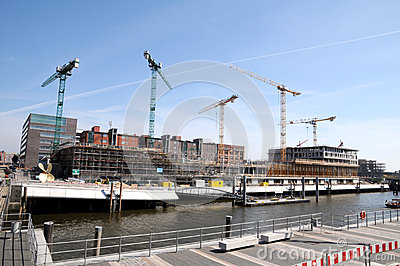 Cranes on contruction site Editorial Photography