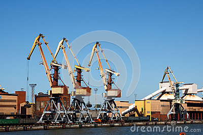 Cranes in a port