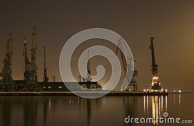 Cranes in the port in Baku