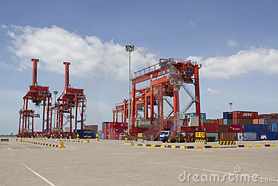 Cranes in the port of Sihanoukville, Cambodia Editorial Photo