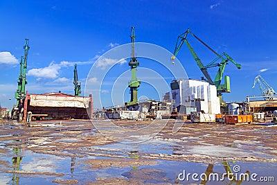 Cranes of shipyard in Gdansk