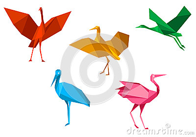 Cranes, storks and herons birds