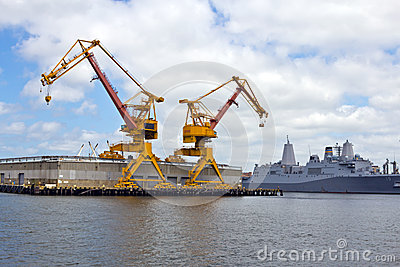 Cranes in US Navy Yard Editorial Stock Photo