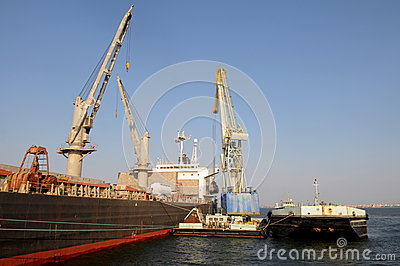 Cranes Working at a Cargo Ship