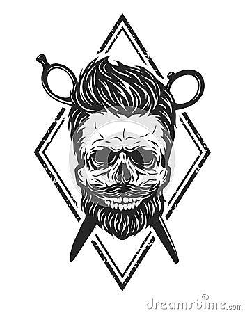 Cranio con una barba e un taglio di capelli alla moda for Simbolo barbiere