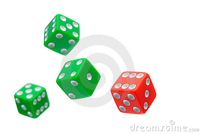 Craps Dice Flying in a Gambling Game Isolated