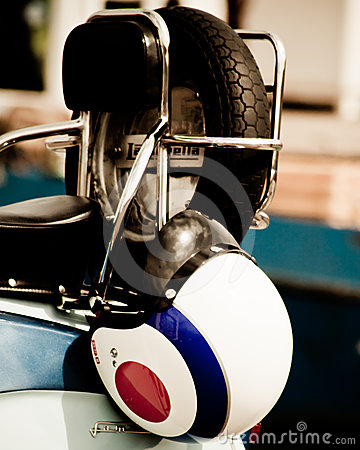Crash helmet on the back of a lambretta Editorial Image