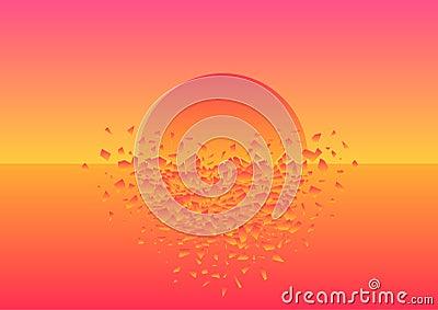 Pink sunset crashed Vector Illustration