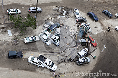 Crashed cars after Hurricane Sandy Editorial Photo