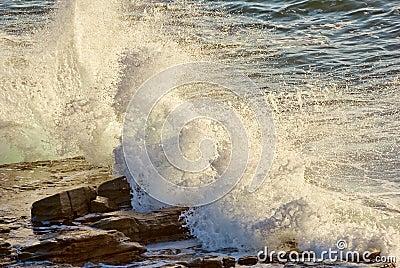 Crashing waves on rocks