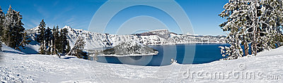 Crater Lake in winter - panorama