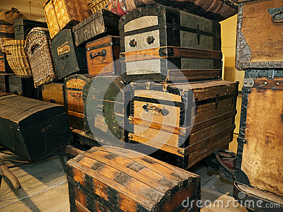 Crates and baggage Ellis Island Immigration museum Editorial Photography