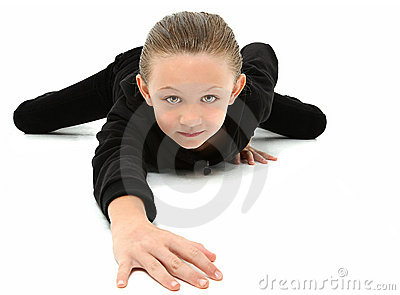 Crawling 7 year old Girl in Black
