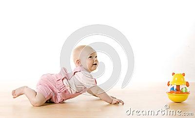 Crawling baby girl
