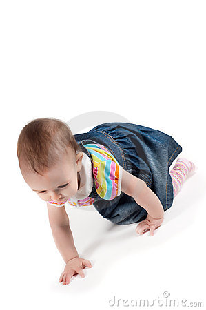 Crawling baby girl