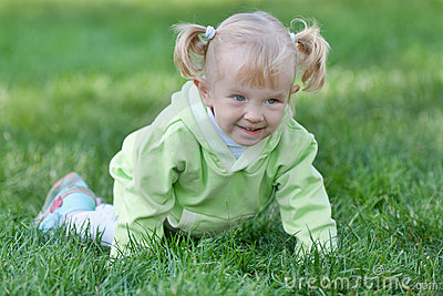 Crawling cheerful toddler