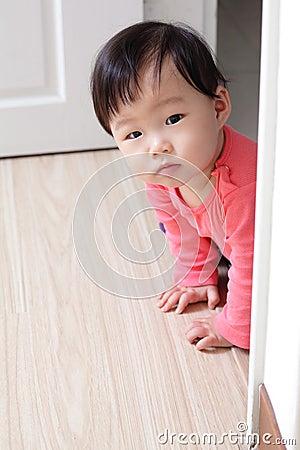 Crawling girl baby