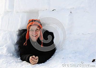 Crawling through Igloo Doorway