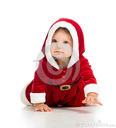 Crawling toddler Santa Claus baby girl