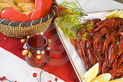Crayfish and bread
