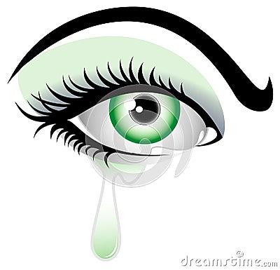 秀丽哭泣的眼睛女孩.