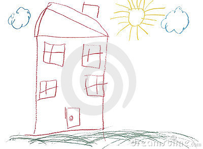 Crayon childlike hand drawn picture of house