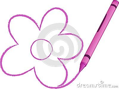 Crayon Drawn Flower vector illustration