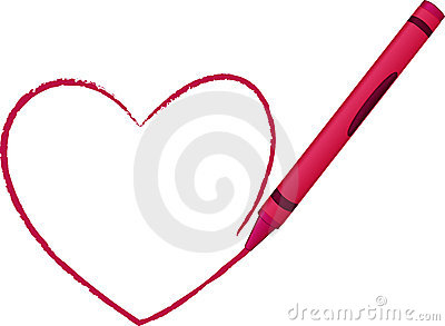 Crayon Drawn Heart - vector illustration
